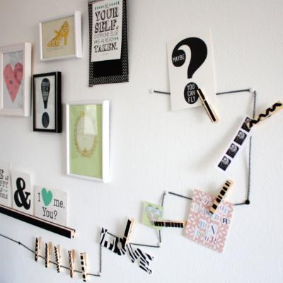 Schreibtisch Makeover: Wandgalerie und Memo-Schnur-DIY