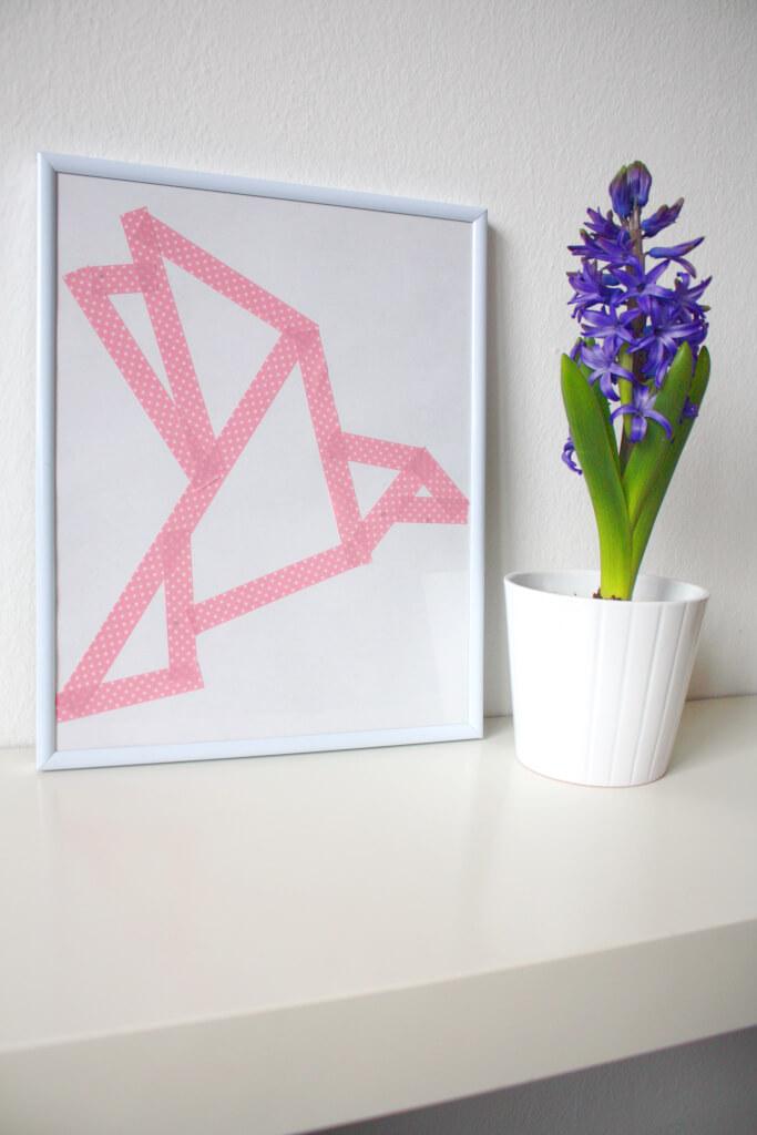 Frühlingsdeko Diy Origami Vogel Bild Aus Masking Tape Rosy Grey