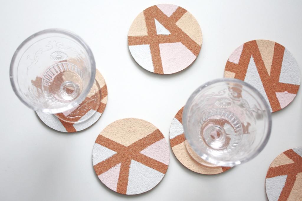 Korkuntersetzer Geometrische Muster DIY 6
